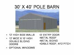 pole barn sizes x pole barn plans blueprints 2 options pole barn sliding door sizes