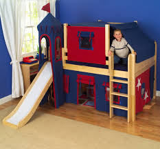 engaging childrens bedroom ideas design with blue red toddler bunk beds along stairs and slide on awesome kids boy bedroom furniture ideas