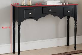 pilaster designs lucas black wood transitional occasional entryway console sofa table with 3 storage drawers com