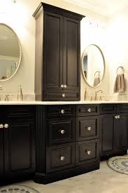 Astonishing Black Wooden Bathroom Cabinet Vanity Design With Some