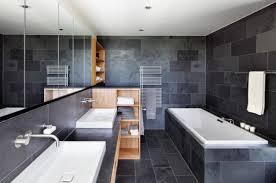 Modern bathrooms Grey Tile The Spruce 14 Ideas For Modernstyle Bathrooms