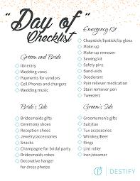 Checklist For Wedding Day Destination Wedding Day Checklist Destify