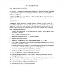 Substitute Teacher Job Description for Preschool Free PDF Format