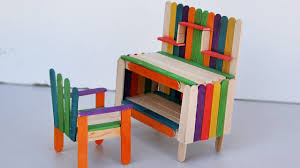Furniture miniature Mid Century Popsicle Stick Crafts How To Make Table And Chair Miniature Furniture Youtube Popsicle Stick Crafts How To Make Table And Chair Miniature