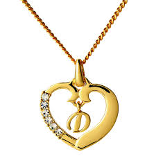 initial necklace letter d 18k yellow gold plated
