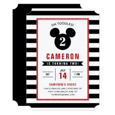 mickey mouse party invitation mickey mouse icon black white striped birthday invitation