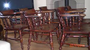 6 antique solid oak captains chairs with arms