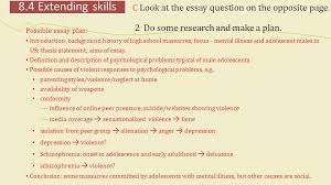 unit mental disorders popular myths skills focus reading  c look at the essay question on the opposite page
