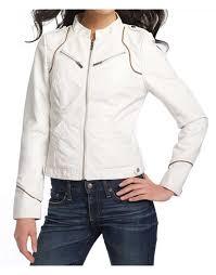 women s white scuba faux leather jacket