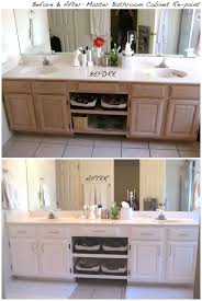 white bathroom cabinets. before and after repainting the master bathroom cabinets white