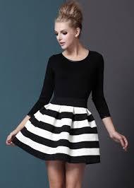 Black White Striped Three Quarter Length Sleeve Stripe Dress Abaday Com