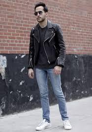 black leather jacket blue denim jeans white sneakers