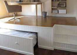 bed with office underneath. This Home Office Has A Secret Bed Underneath The Raised Floor\u2014genius Idea For With T