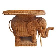 Image of Midcentury Wicker Elephant Table with Tray