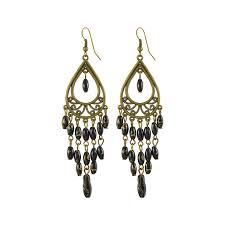 bohemian beaded filigree carved teardrop chandelier earring for women black