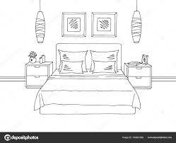 bedroom graphic black white interior sketch ilration vector stock ilration