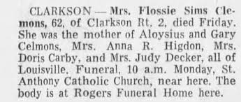 Obituary for Flossie CLARKSON (Aged 62) - Newspapers.com