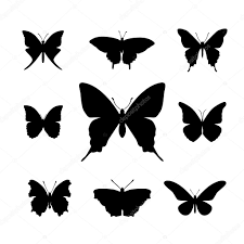 Animal Stencil Shapes Set Of Black Simple Butterfly Shapes