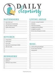 Weekly Household Chores Printable Cleaning Checklists For Daily Weekly And Monthly Household