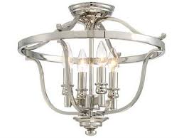 audrey point polished nickel four light 17 wide semi flush mount light
