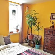 Love the bright wall and plant corner! Mustard Yellow ...