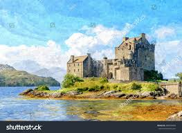 digital oil painting from a photograph of eilean donan castle near the village of dornie in