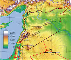 syrian desert physical map.  Syrian Topographic Map Of Syria With Syrian Desert Physical M