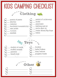 cub scout camping list printable camping checklist