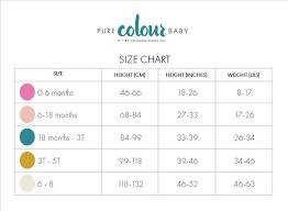 Size Chart Pure Colour Baby