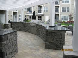 Kitchen  Excellent Outdoor Kitchen Ideas With L Shape Stone - Outdoor kitchen countertop ideas