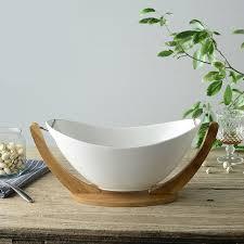 Decorative Salad Bowls Hanging Ceramics and Bamboo Salad Bowl with Stand Decorative 2