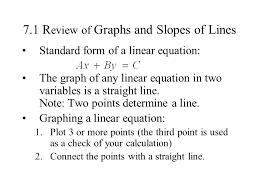 7 1 r eview of graphs and slopes of lines standard form of a linear equation