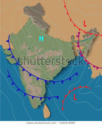 Isobar Chart Weather Map India Chart Synoptic Showing Stock Vector