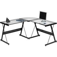large glass office desk. Furniture:Fabulous Glass Top L Shaped Desk 2 51FyHrtrh9L SL1000:Glass Desk: Large Office E