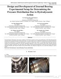 Journal Bearing Design Design And Development Of Journal Bearing Experimental Setup