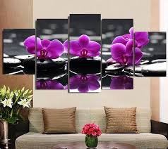 purple orchid on hot stones on purple orchid wall art with 5 panel canvas wall art purple orchid on hot stones panelwallart