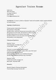 Resume Samples Appraiser Trainee Resume Sample Real Estate Appraiser