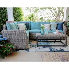 Forsyth 5 Piece Wicker Outdoor Sectional Set with Green Cushions