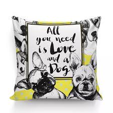 all you need is love and a dog french bulldog gifts american graffiti cotton linen cushions home decor sofa throw pillows 45 45