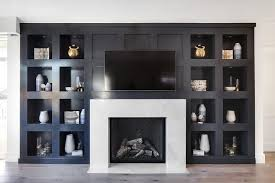 image result for black built ins with faux marble wallpaper in back