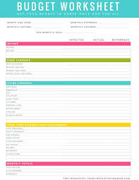 Monthly Family Budget Worksheet Free Printable Budget Worksheet Download Monthly Forms