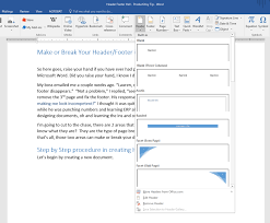 Ms Word Header Make Or Break Your Headers Footers In Microsoft Word