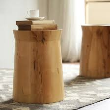 cottage round wood side table tree