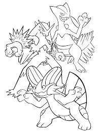 Pokemon Paradijs Kleurplaat Blaziken Sceptile Swampert