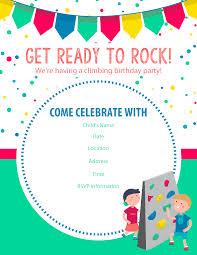 Birthday Party Inviation Happy Free Rock Climbing Invitations One Of