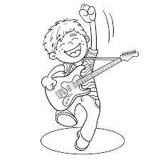 Grappige Meisje Gitaar Spelen Cartoon Vectorillustratie Geïsoleerd