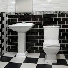 victoria mini metro wall tiles gloss black 15 x 7 5cm 5 bathroom