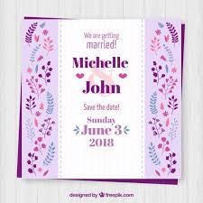 Wedding Invitations Templates Purple Purple Wedding Invitation Template With Decorative Flowers Vector