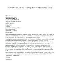 Example Of A Cover Letter For A Teacher Elementary Teacher Resume