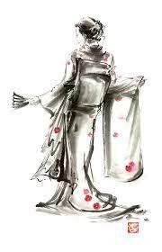 sumi e painting geisha anese woman sumi e original painting art print by mariusz